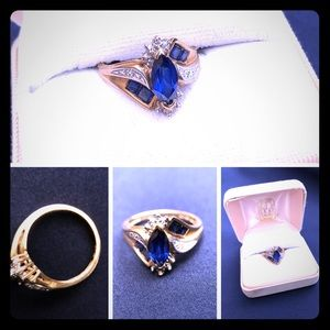 Jewelry - Vintage Sapphire Ring - Size 7 - 10K Yellow Gold